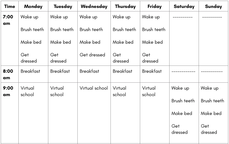 Daily Scheduling Chart 1